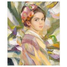 "FRANCISCO J.J.C. MASSERIA (Argentinian 1926 - 2002) -  Original Signed Impressionist Oil on Canvas - ""Rosemary"""