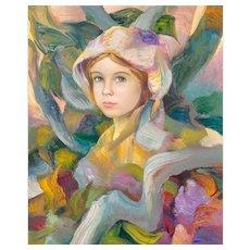 "FRANCISCO J.J.C. MASSERIA (Argentinian 1926 - 2002) - Original Signed Impressionist Portrait Oil on Canvas ""Dolly"""