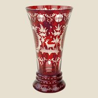 Bohemian Ruby to Clear Glass Vase, Simply Exquisite!