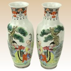 PAIR Of Mid-Century Chinese Hand-Painted Porcelain Vase, Signed, Character Stamp