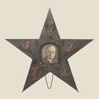HARRY S. TRUMAN/FRANKLIN ROOSEVELT Copper Star Desk Ornament, With Generals Mac Arthur, Arnold and Eisenhower circa 1944 - 1945