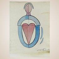 "Original Signed Cubism Watercolor ""Untitled Sketch"",  Signed"