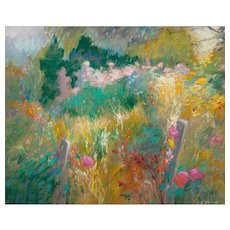 """ELISABETH STENNE (French, 20th Century)  """"View Of The Garden"""" Original Signed Impressionist Pastel On Paper"""