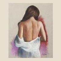 "DOMINGO ALVAREZ GOMEZ (Spanish, b. 1942)   ""Falling Robe"" - Original Signed  Pastel on Paper."