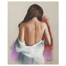 "DOMINGO ALVAREZ GOMEZ (Spanish, b. 1942)   ""Falling Robe"" - Original Signed  Pastel on Paper."