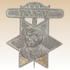 President William Howard Taft Antique Metal Portrait Badge, Die Cut Lead