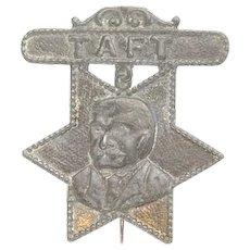 President William Howard Taft Antique Metal Portrait Badge, Die Cut Lead
