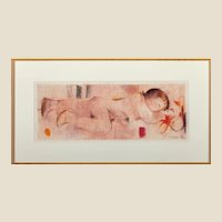 "A.  FUCHS (German, 20th Century) Original Signed and Dated Pastel On Paper , ""Nude In Pink"""