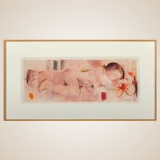 """A.  FUCHS (German, 20th Century) Original Signed and Dated Pastel On Paper , """"Nude In Pink"""""""