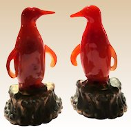 PAIR of Chinese Carved Carnelian Penguins, On Gilt Bronze Bases
