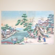 """Early 19th Century Chinese Watercolor On Paper - """"Figures In The Landscape"""""""