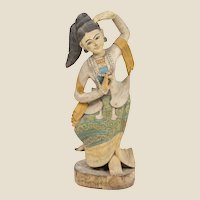 Very Large Southeast Asian (Thailand) Carved Wood and Polychrome Dancing Figure, 35 inches Tall.