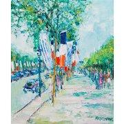 "YOLANDE ARDISSONE (French, born 1927) Original Signed Oil On Canvas ""Street Scene In France"""