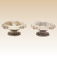 Pair of Antique Sterling Silver Footed Open Salts By Gorham