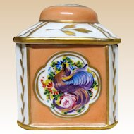 Exquisite Hand-Painted French Porcelain Signed Lidded Dresser or Trinket Box With Birds and Flowers.
