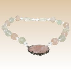 Carved Chinese Rose Quartz Necklace With Carved Rose Quartz Oval Pendant,