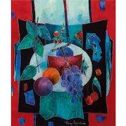 "TONY AGOSTINI (Italian/French 1916 - 1990) - Original Signed Oil On Canvas ""L'assiette Aux Fruits"" Still Life Modernist Artwork"