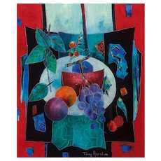 "TONY AGOSTINI (Italian/French 1916 - 1990) - Original Signed Oil On Canvas ""L'assiette Aux Fruits"" Still Life Modernist Artwork"