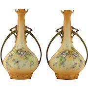 Art Nouveau Pair of Casa Renacimento Amphora Hand-Painted Double Handled Vases, Rare and Beautiful