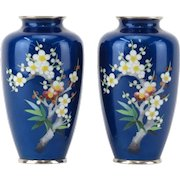 Pair of Antique Japanese Cloisonné Cobalt Blue Enamel Vases WithCherry Blossom and Foliage Motif.