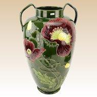 JULIUS B. DRESSLER Jugendstil (Secessionist)  Majolica Double-Handled Pottery Vase.