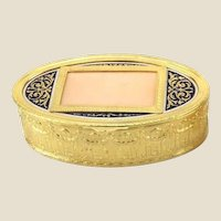Antique French Oval Gilt Dresser or Trinket Box With Enamel And Scroll Top - You Can Put Your Own Photo On Top