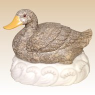 Well-Carved Chinese Hardstone Duck On Waves, Excellent Detailing With Yellow Beak And Inset Eyes