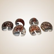 Set of Six Vintage Napkin Rings In Shell Patterns