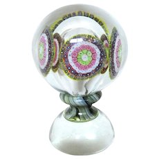 "Huge Art Glass Millefiori Centerpiece, With Glass Within Glass, With Beautiful ""Waistline"" On Art Glass Base"