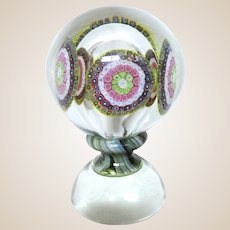 "Huge Art Glass Millefiori Centerpiece, With Glass Within Glass, With Beautiful ""Waistline"" On Art Glass Base"