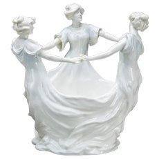 ART NOUVEAU Jardiniere Centerpiece With  Flower Frog In Bisque, With Three Dancers