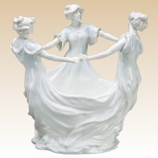 ART NOUVEAU Jardiniere Centerpiece With  Flower Frog In Bisque, With Three Dancers