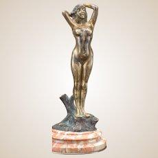 ART NOUVEAU Signed Bronze Female Nude On Marble Base
