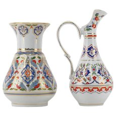 KUTAHYA Porcelain Hand-Made Hand-Painted Vase and Ewer