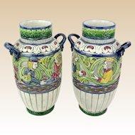 PAIR Antique Teplitz Amphora Polychrome Art Nouveau Pottery Vases, Outstanding.