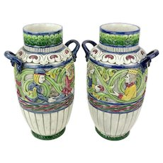 PAIR Antique Teplitz Amphora Polychrome Art Nouveau Pottery Vases, Outstanding.