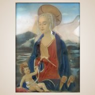 """19th Century Original Signed Watercolor Italian Miniature Painting """"Madonna and Child"""""""