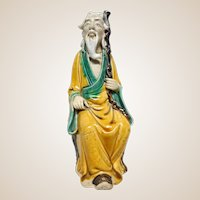 Larger Seated Chinese Mudman  Sage With Staff (Symbol of Authority and Mature Wisdom) - 8  1/2 inches tall.