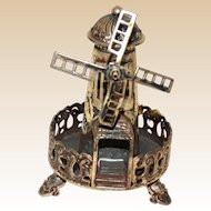 JUDAICA Sterling Silver Miniature Windmill Spice Box (Besamim)