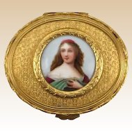 Antique French Gilt Dresser Box or Trinket Box With Porcelain Portrait Miniature