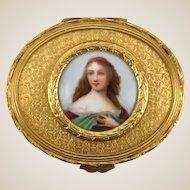 Antique French Gilt Dresser Box or Trinket Box With Porcelain Portrait Miniature