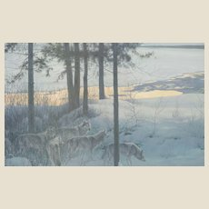 """ROBERT MC LELLAN BATEMAN (Canadian b. 1930) - Signed/Numbered Limited Edition """"Edge of Night - Timber Wolves""""  Lithograph in Color - 1996"""