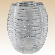 LALIQUE Exquisite and Rare Clear and Frosted Vase, Signed