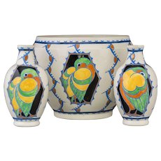 THREE Charles Catteau for Boch Freres Glazed Earthenware Jardiniere and Two Vases With Parrots and Medallions - Art Pottery At Its Best!