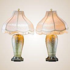 PAIR of Amphora Glazed Ceramic Vases Mounted As Lamps, Circa 1900