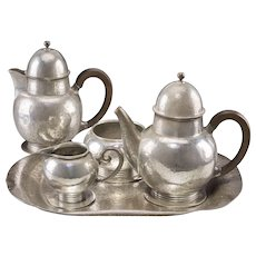Five-Piece Liberty & Co. Tudric Pewter Tea and Coffee Service.