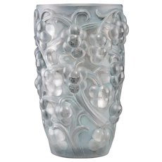 R. LALIQUE Clear and Frosted Glass Raisins Vase with RARE BLUE Tint,
