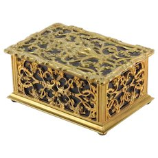 ART NOUVEAU Gilt Bronze and Leather Box WIth Nymph in High Relief On Top With Scroll and Foliage Motif, With Cedar Lined Interior. - Red Tag Sale Item