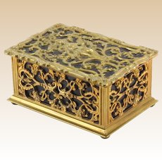 ART NOUVEAU Gilt Bronze and Leather Box WIth Nymph in High Relief On Top With Scroll and Foliage Motif, With Cedar Lined Interior.