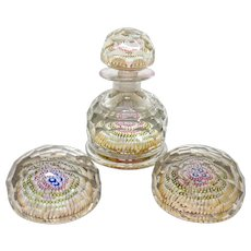 THREE PIECE Multi-Faceted  Millefiori Decanter and Two Paperweights